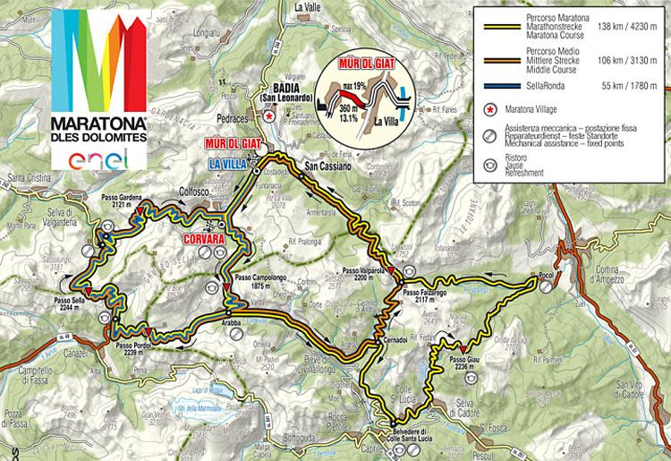 La planimetria della granfondo di ciclismo Maratona Dles Dolomites