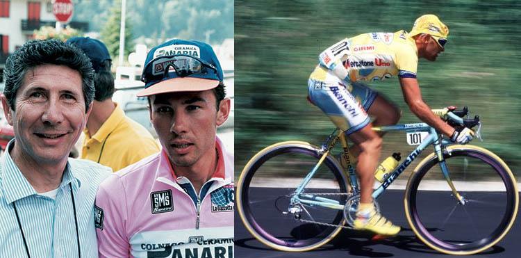 Foto che mostra Pavel Sergeevič Tonkov e Marco Pantani, appartenenti a team sponsorizzati da Santini SMS