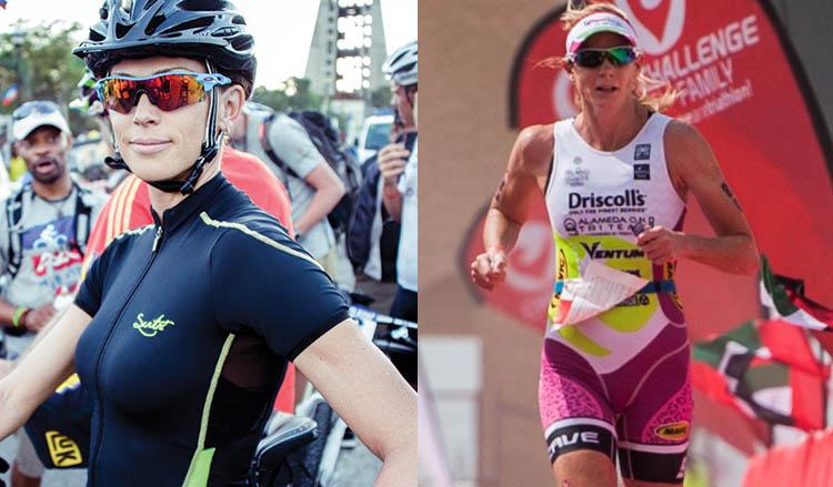Nella foto Jenny Fletcher, sponosrizzata da Santini SMS nel triathlon e Leanda Cave, altra atleta del triathlon, sempre sponsorizzata Santini SMS