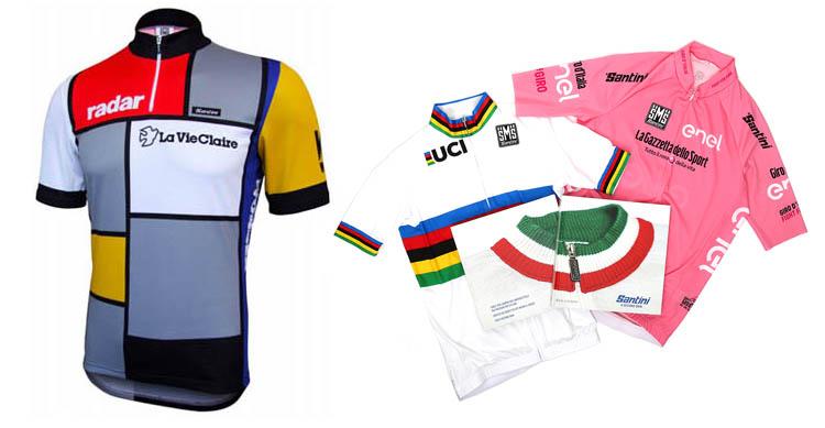 La maglia storica che Santini SMS realizzò per il team La Vie Claire riproducendo il celebre quadro di Mondrian. Le maglie ufficiali dell'UCI del Campione del Mondo e la maglia rosa ufficiale del Giro d'Italia.