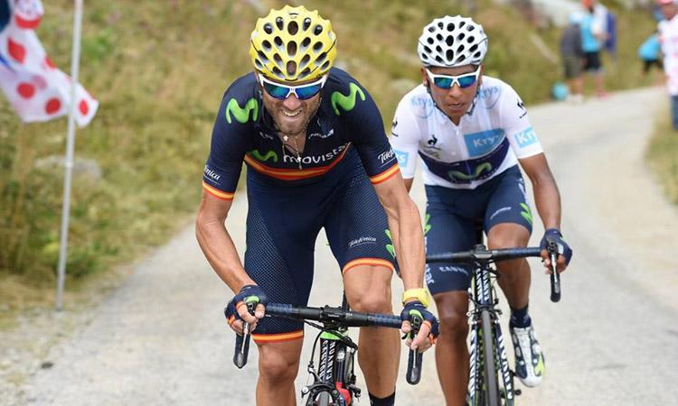 Valverde e Quintana con il casco Catlike durante il Tour 2016