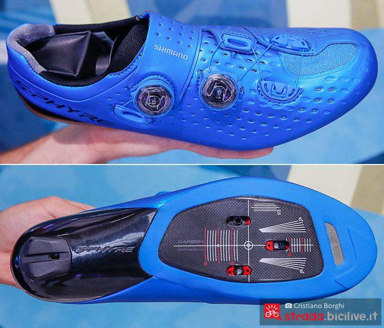 tomaia e suola delle scarpe da ciclismo shimano s-phyre rc9