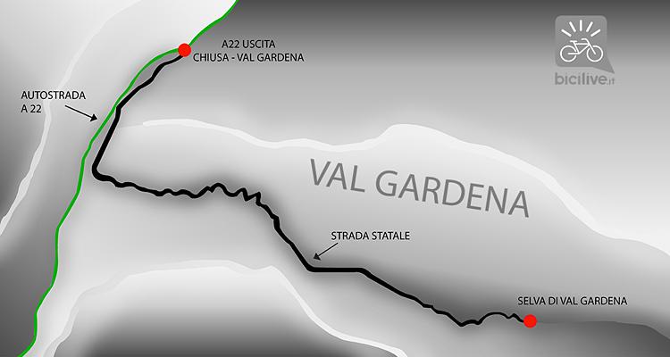 mappa per raggiungere Selva di Val Gardena