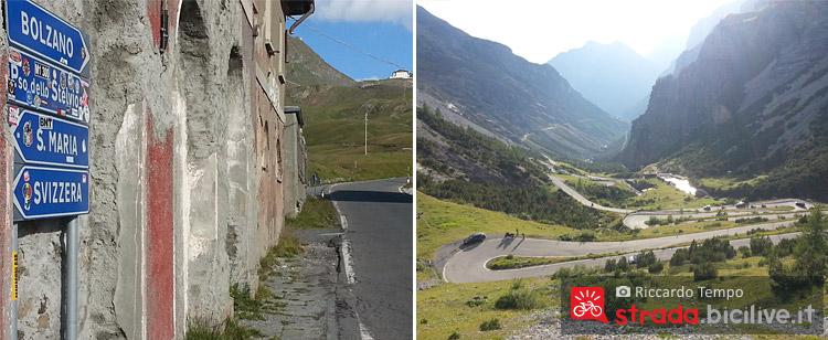 Segnalatica stradale da seguire per il ciclista che affronta il passo dello Stelvio
