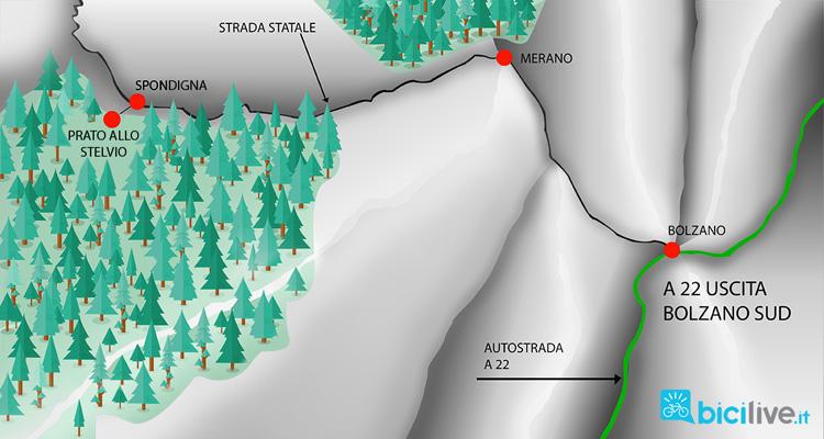 mappa per raggiungere prato dello Stelvioq