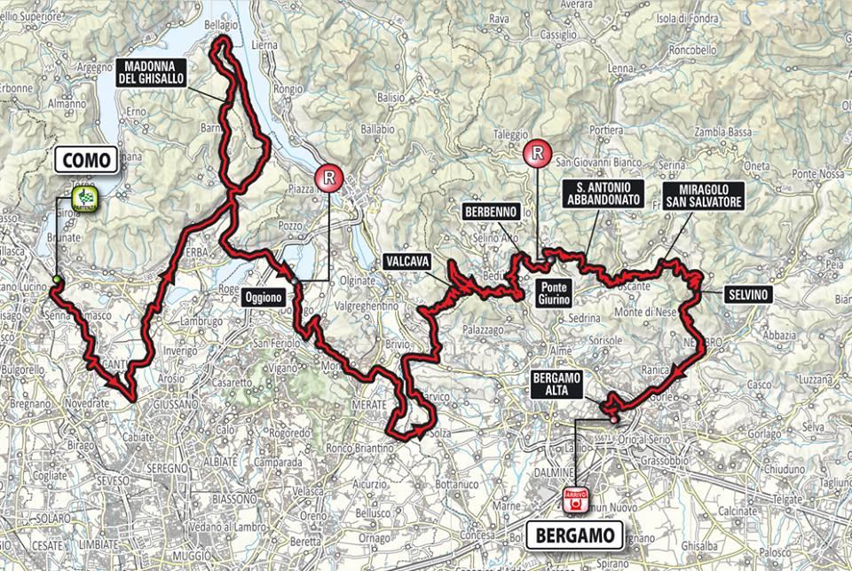 planimetria del Giro di Lombardia 2016