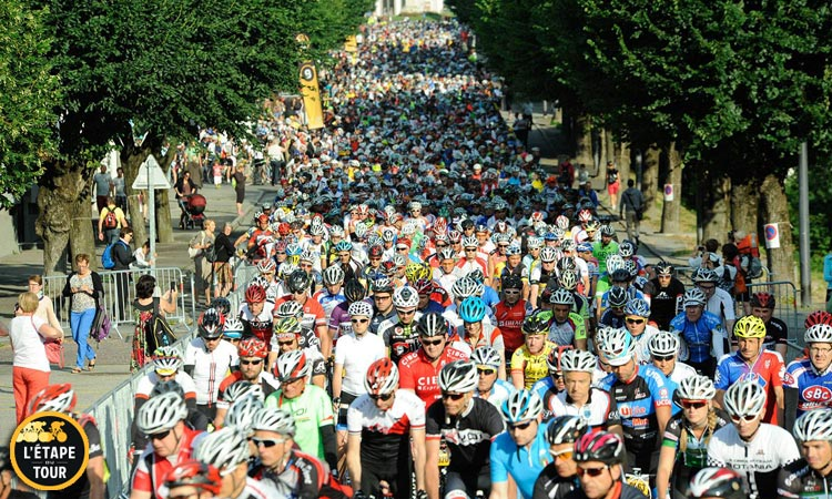 partenza granfondo di ciclismo etape du tour