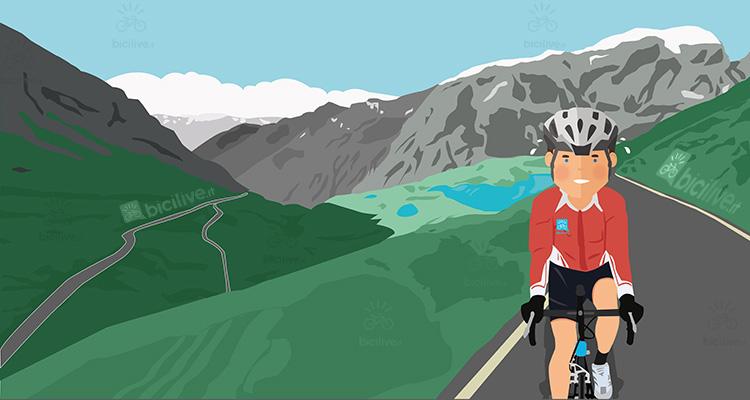 ciclista affronta i tornanti del passo Gavia