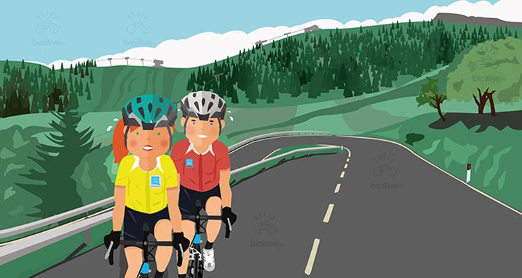 due ciclisti salgono sul monte bondone in bici