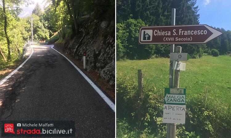 strada della salita verso il Monte Velo e il passo santa barbara