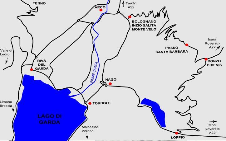 mappa dell'area del passo santa barbara vicino al lago di Garda e Arco di Trento