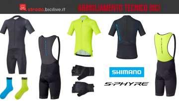 linea di abbigliamento tecnico da bici shimano s-phyre
