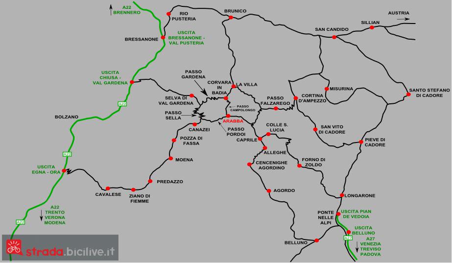 mappa dei passi dolomitici attorno al Sella