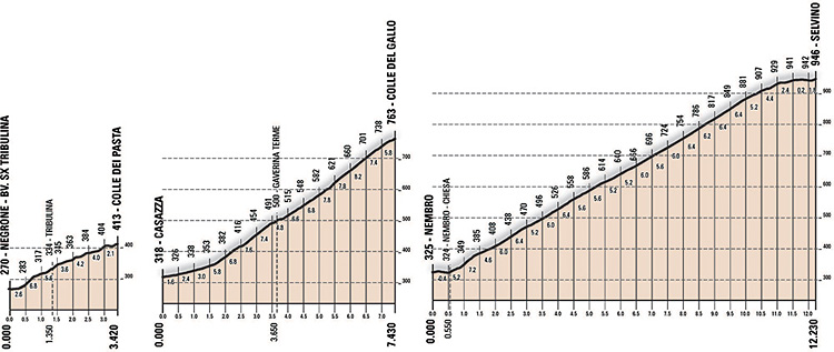 altimetria delle salite Colle dei Pasta, Colle del Gallo e Selvino