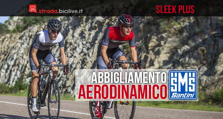 ciclisti che indossano abbigliamento aerodinamico santini sleek plus