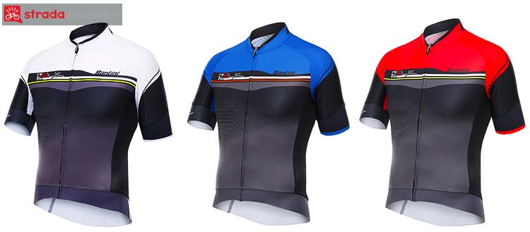 Le tre colorazioni della maglia da ciclismo Santini Sleek Plus 2017.