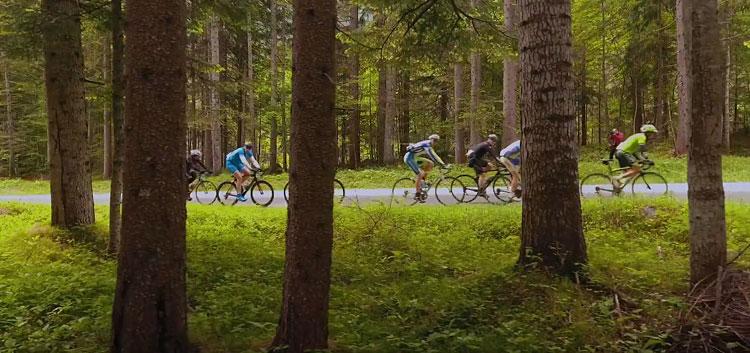 ciclisti pedalano tra i boschi del cadore durante la 3epic