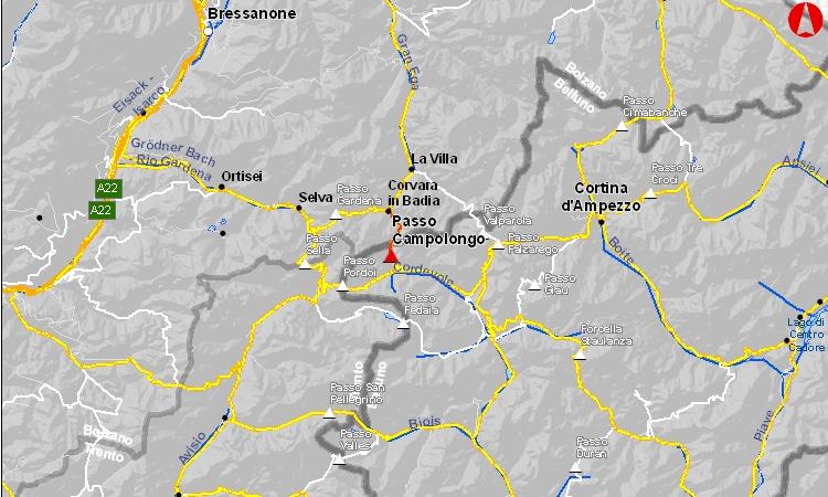 mappa della salita al passo campolongo