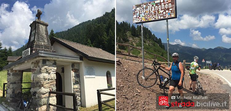 chiesetta e finale del passo manghen in bici