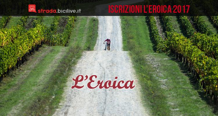 ciclista pedala per iscriversi all'eroica 2017