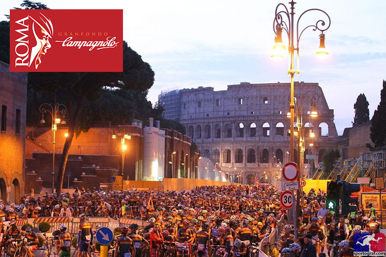 Ciclisti in massa alla Gran Fondo Camapagnolo Roma.