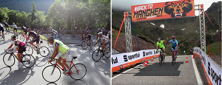 ciclisti affrontano il passo manghen in bicicletta