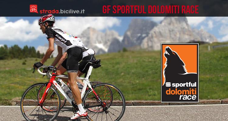 ciclista della granfondo sportful dolomiti race sul rolle