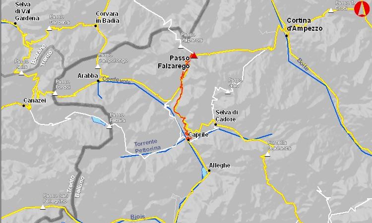 mappa del passo falzarego in bici