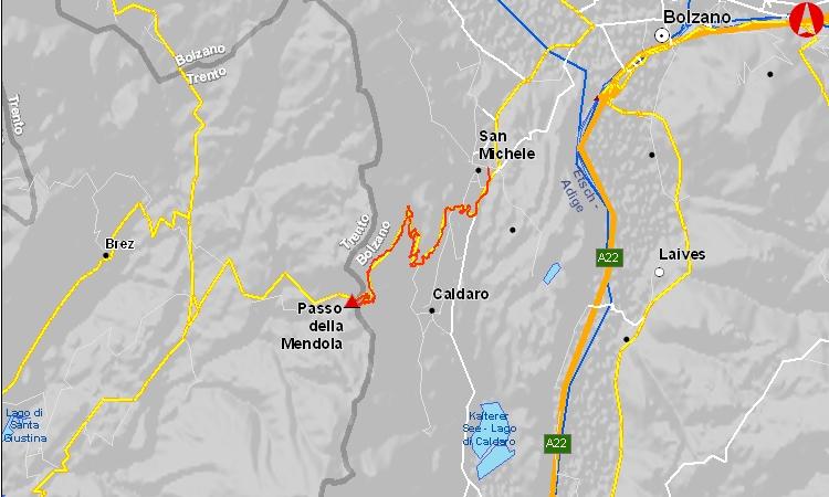 mappa del passo della mendola in bici