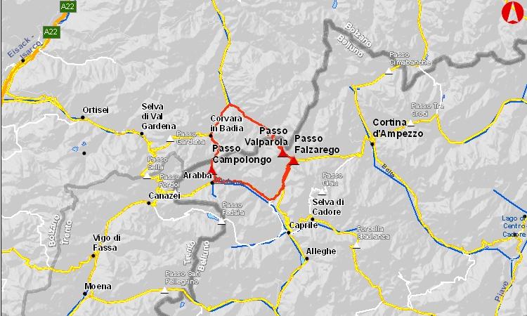 mappa del Dolomites Bike Day