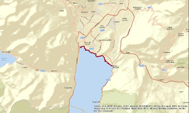 mappa della ciclabile tra Riva del Garda e Torbole