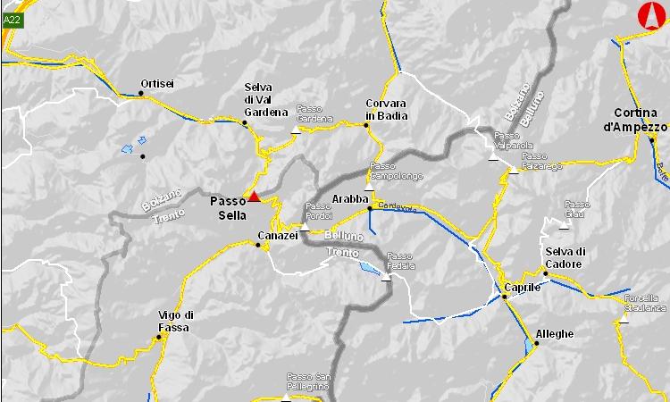 mappa del passo sella