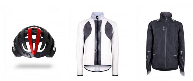 Casco ciclista e giacchette antivento e antipioggia