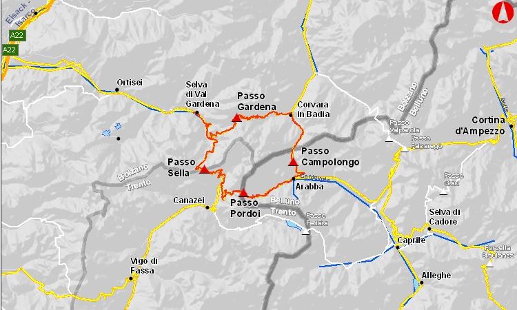 mappa del giro dei passi in bici
