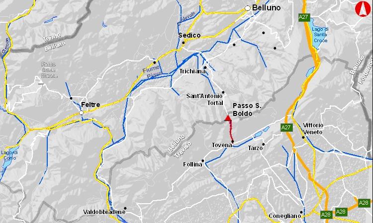 Mappa del passo san boldo tra treviso e belluno