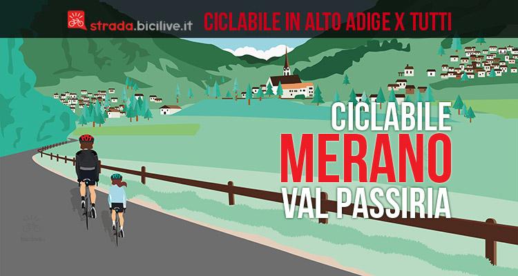 ciclisti sulla ciclabile fino a merano in val passiria
