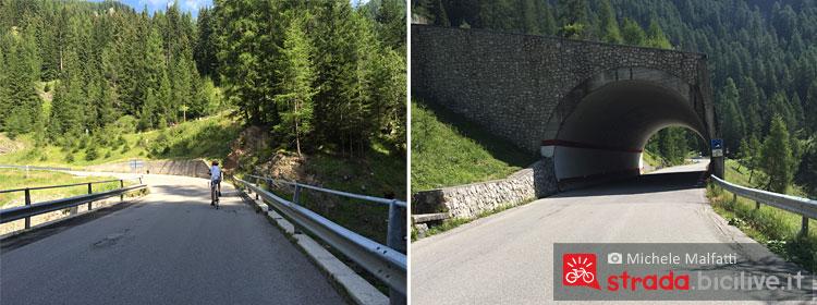 ponti e gallerie salendo il giau in bici
