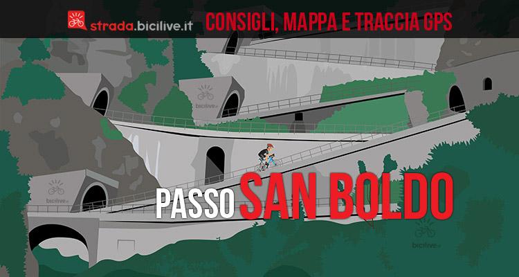 ciclista al passo san boldo in bici da corsa