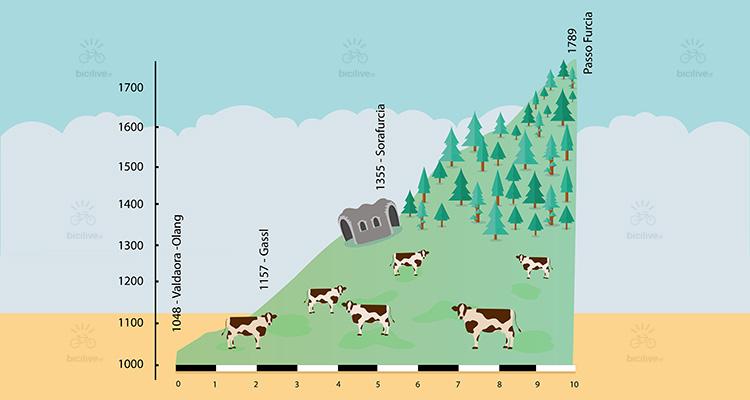 illustrazione del passo furcia e la sua altimetria