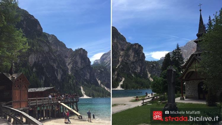 turisti al lago di braies in val pusteria