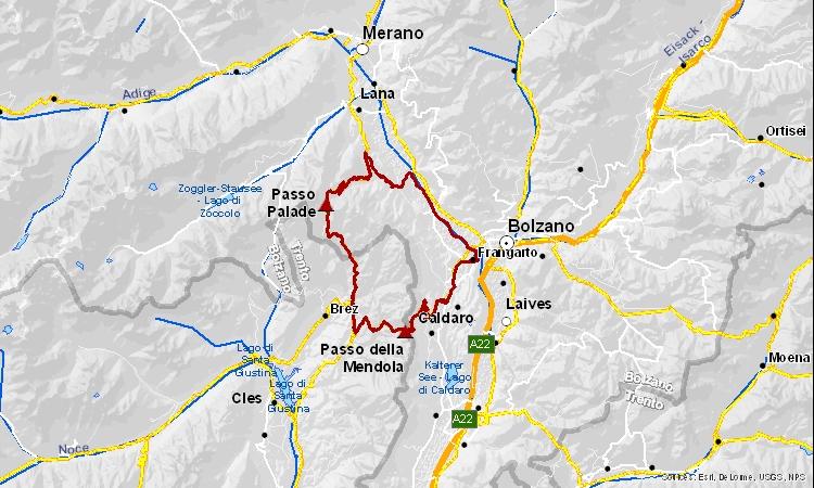 mappa dell'itinerario cicloturistico tra trentino e alto adige