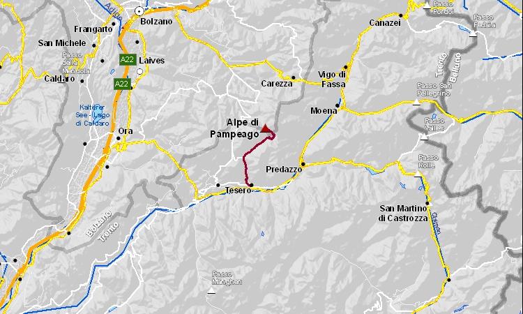 mappa e cartina della salita all'alpe di pampeago dalla val di fiemme