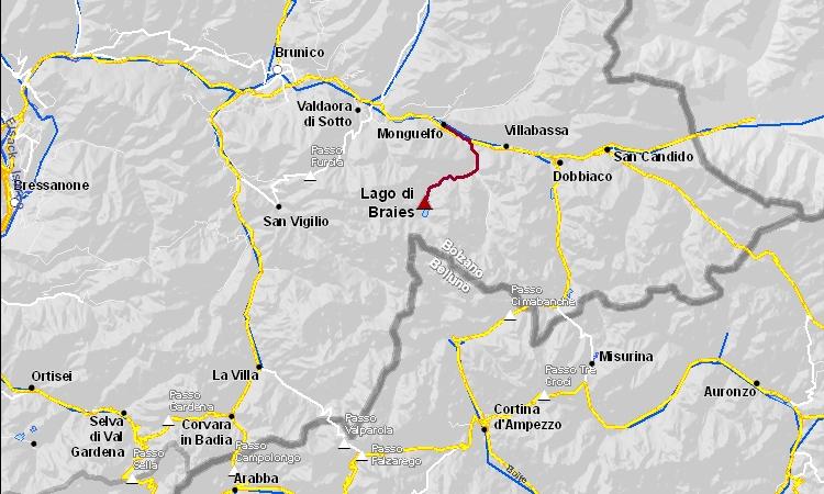 mappa del percorso in bicicletta al lago di braies