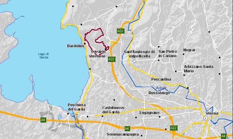 mappa del tour in bici da bardolino