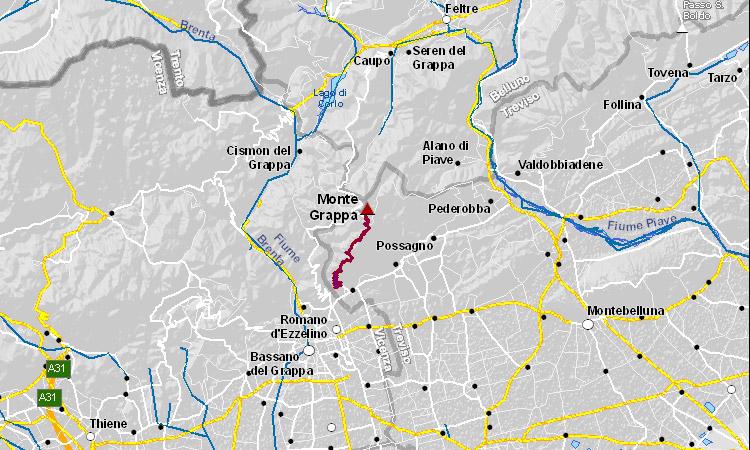 mappa della salita al monte grappa in bicicletta