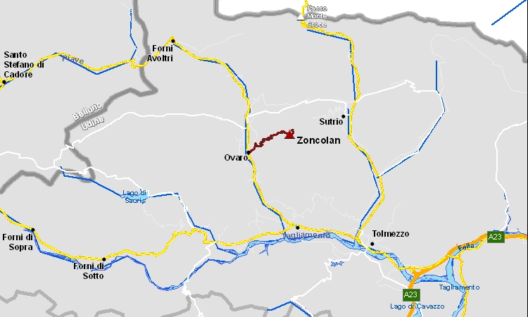 mappa della salite allo zoncolan in bici