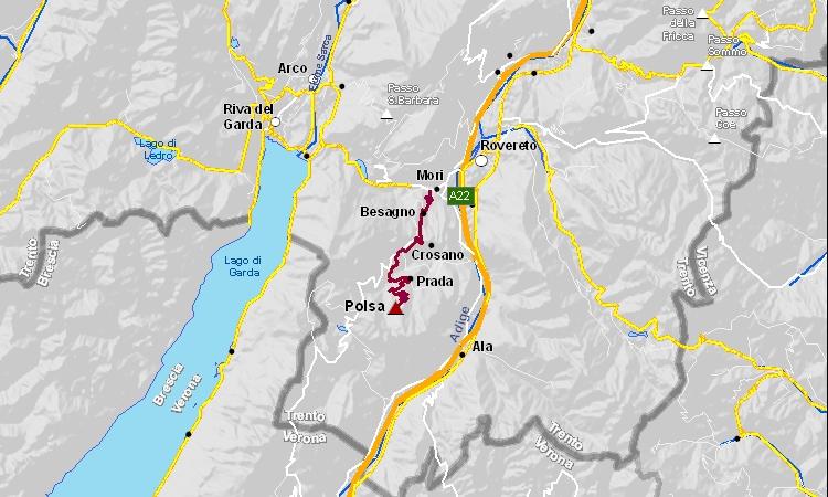 mappa della salita alla Polsa in Trentino