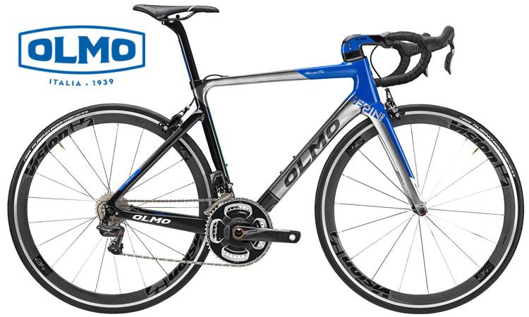 Una bicicletta da corsa Olmo Gepin Pro di colore bianco blu