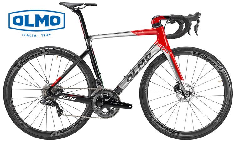 Una bicicletta da corsa Olmo Gepin Pro di colore bianco rossa