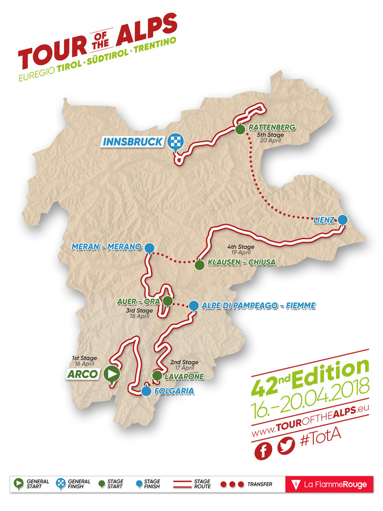 Le tappe del Tour of the Alps 2018